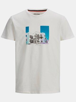 Bílé tričko s potiskem Jack & Jones Halfo