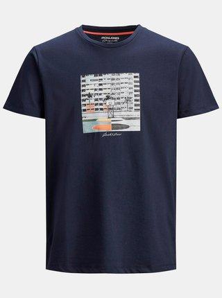 Tmavomodré tričko s potlačou Jack & Jones Halfo