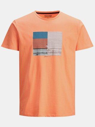 Oranžové tričko s potlačou Jack & Jones Halfo