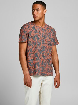 Oranžovo-šedé vzorované tričko Jack & Jones Lefo