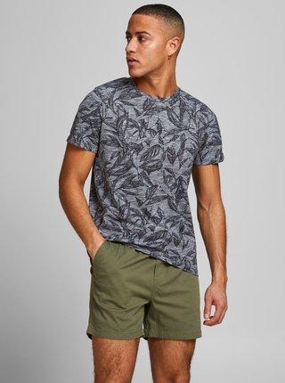 Modré vzorované tričko Jack & Jones Lefo