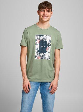 Zelené tričko s potiskem Jack & Jones Floral