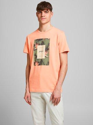 Oranžové tričko s potiskem Jack & Jones Floral