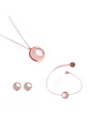 Sada dámských naušnic,náramku a náhrdelníku v růžovozlaté barvě Vuch- Rose Gold Moon
