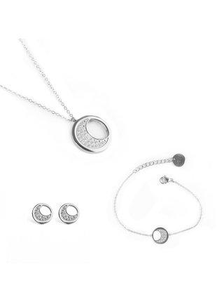 Sada dámských naušnic,náramku a náhrdelníku ve stříbrné barvě Vuch- Silver Moon