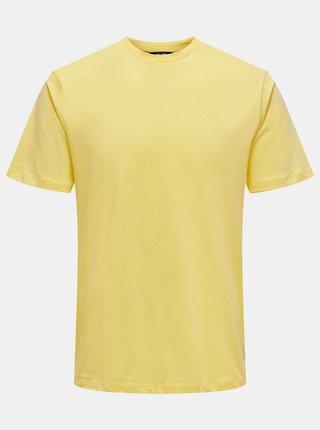 Žluté tričko s potiskem na zádech ONLY & SONS Arne