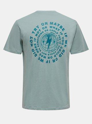 Světle zelené tričko s potiskem na zádech ONLY & SONS Arne