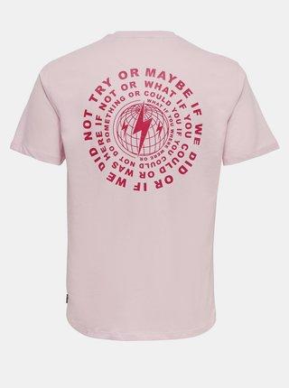 Světle růžové tričko s potiskem na zádech ONLY & SONS Arne