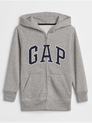 Šedá klučičí dětská mikina GAP Logo zip hoodie