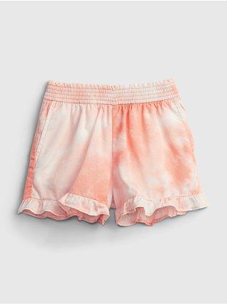 Oranžové holčičí dětské kraťasy ruffle pull-on shorts GAP