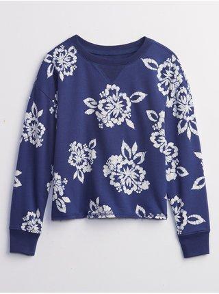 Modrá holčičí dětská mikina print pullover sweatshirt GAP