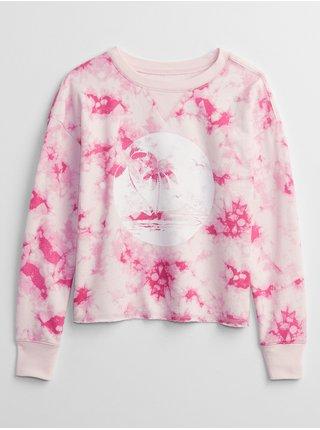 Růžová holčičí dětská mikina print pullover sweatshirt GAP