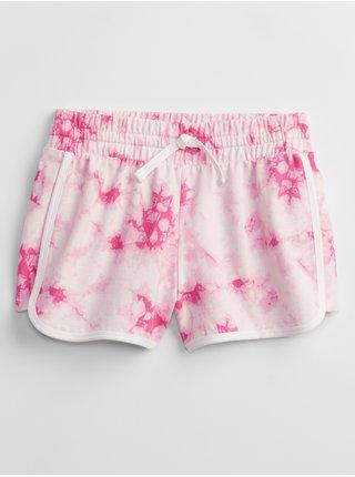 Růžové holčičí dětské kraťasy graphic pull-on shorts GAP