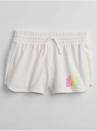 Bílé holčičí dětské kraťasy graphic pull-on shorts GAP