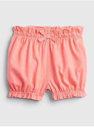 Oranžové holčičí baby kraťasy 100% organic cotton mix and match pull-on shorts GAP