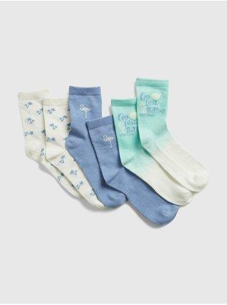 Barevné holčičí dětské ponožky summer crew, 3 páry GAP