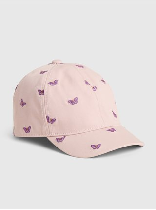 Růžová  dětská kšiltovka butterfly graphic baseball hat GAP