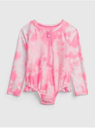 Růžové holčičí dětské plavky print swim rash guard one-piece GAP