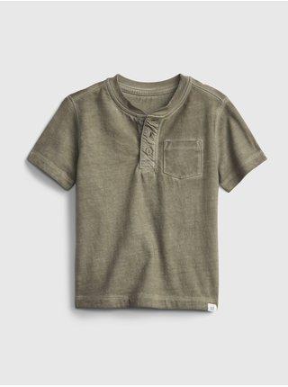 Zelené klučičí dětské tričko henley vin GAP