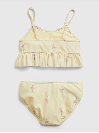 Žluté holčičí dětské plavky recycled flamingo graphic swim two-piece GAP