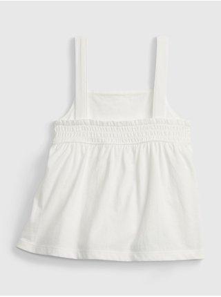 Bílý holčičí dětský top peplum knit tank GAP