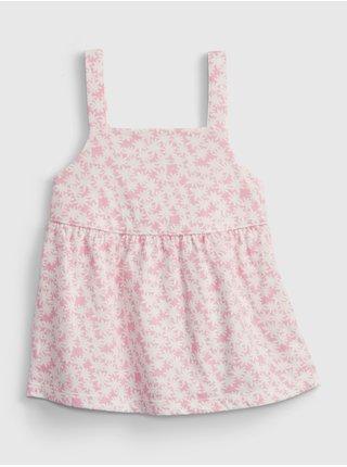 Růžový holčičí dětský top peplum knit tank GAP