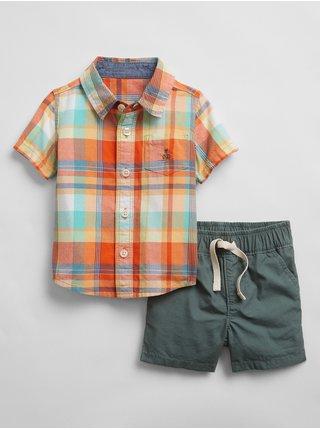 Barevný klučičí baby set plaid shirts two-piece GAP