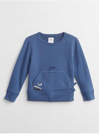 Modrá klučičí dětská mikina graphic crewneck sweatshirt GAP