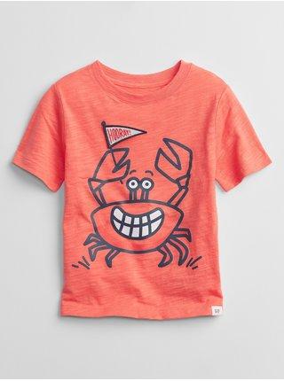 Oranžové klučičí dětské tričko graphic t-shirt GAP