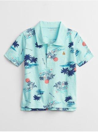 Modré klučičí dětské polo tričko print polo t-shirt GAP