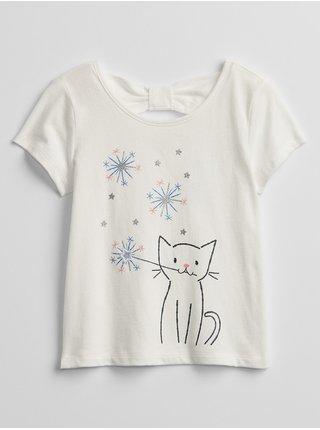 Bílé holčičí dětské tričko bow-tie graphic t-shirt GAP