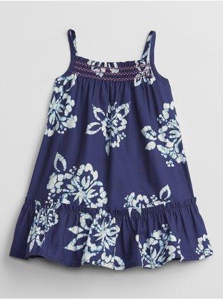 Modré holčičí baby šaty smocked floral dress GAP