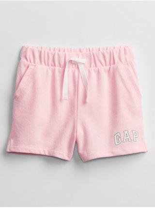 Růžové holčičí dětské kraťasy GAP Logo pull-on shorts GAP