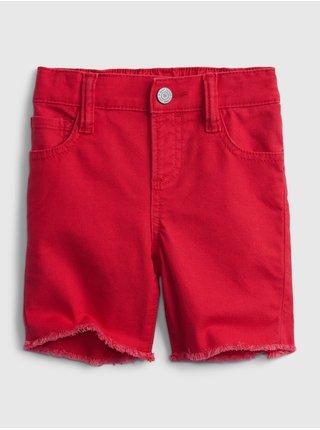 Červené klučičí dětské kraťasy elasticized pull-on denim shorts with stretch GAP
