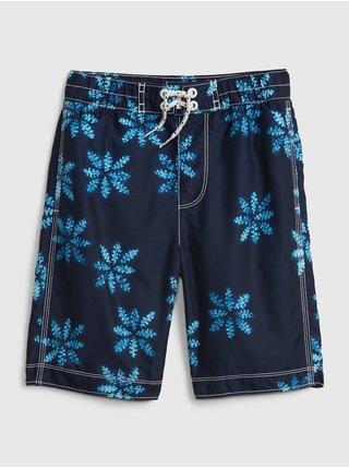 Modré klučičí dětské plavky recycled print board shorts GAP