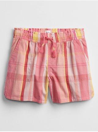 Růžové holčičí dětské kraťasy woven pull-on shorts GAP
