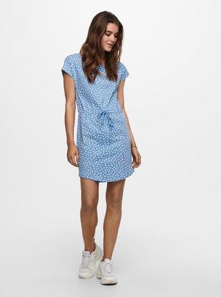 Modré květované šaty se zavazováním ONLY May