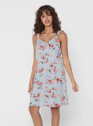 Světle modré květované šaty ONLY Karmen