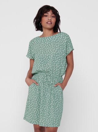 Světle zelené puntíkované šaty se zavazováním ONLY Mariana