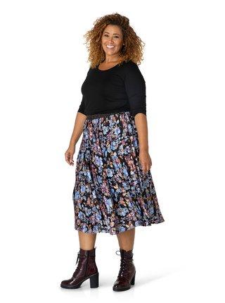 Vínovo-modrá dámska kvetovaná plisovaná midi sukňa Yesta