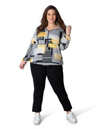 Žlto-šedá dámska vzorovaná blúzka Yesta