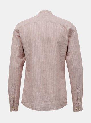 Svetloružová ľanová košeľa ONLY & SONS Caiden