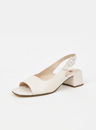 Krémové dámské kožené sandálky na podpatku Högl