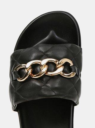 Černé dámské kožené pantofle s ozdobným detailem Högl