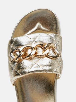 Dámské kožené pantofle ve zlaté barvě s ozdobným detailem Högl