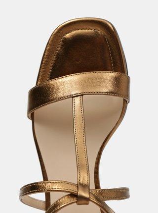 Dámske kožené sandále v zlatej farbe Högl