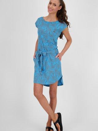 Modré dámské květované šaty s kapsami Alife and Kickin