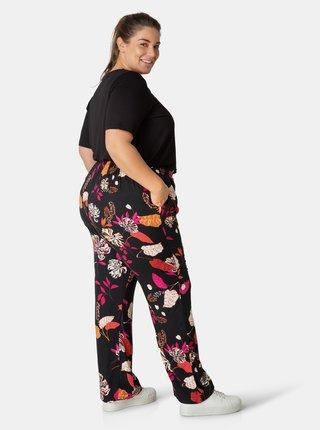 Černé dámské květované kalhoty Yesta