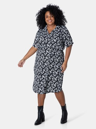 Bielo-čierne dámske kvetované šaty Yesta