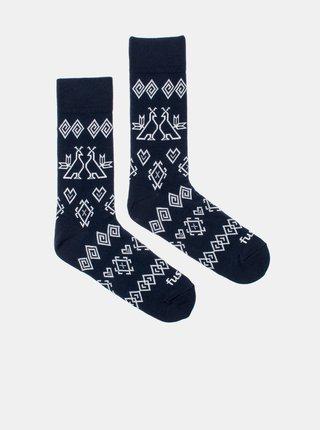 Tmavomodré vzorované ponožky Fusakle Modrotisk